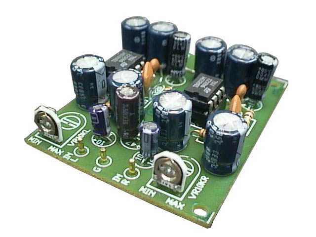 a 2 Watt per channel Stereo Power Amp. works with 3-12 volt power supply